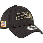 New Era Men's Salute to Service Seattle Seahawks 39Thirty Stretch Fit Black Hat