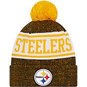 New Era Youth Pittsburgh Steelers Black Banner Knit Pom Beanie