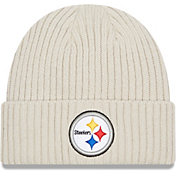 New Era Men's Pittsburgh Steelers Core Cuffed Knit White Beanie