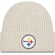 New Era Men's Pittsburgh Steelers Core Cuffed Knit White Beanie
