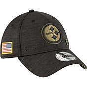 New Era Men's Salute to Service Pittsburgh Steelers 39Thirty Stretch Fit Black Hat