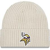 New Era Men's Minnesota Vikings Core Cuffed Knit White Beanie