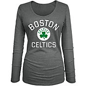 New Era Women's Boston Celtics Grey Logo Long Sleeve T-Shirt