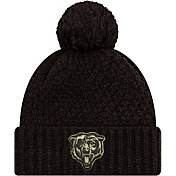 New Era Women's Salute to Service Chicago Bears Black Pom Knit Hat