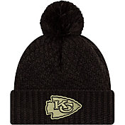 New Era Women's Salute to Service Kansas City Chiefs Black Pom Knit Hat