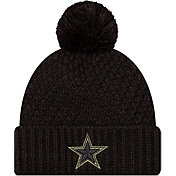 New Era Women's Salute to Service Dallas Cowboys Black Pom Knit Hat