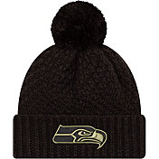 New Era Women's Salute to Service Seattle Seahawks Black Pom Knit