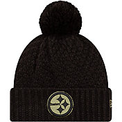 New Era Women's Salute to Service Pittsburgh Steelers Black Pom Knit