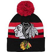 NHL Youth Chicago Blackhawks Heritage Black Cuffed Knit Beanie