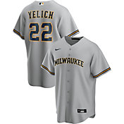 Nike Men's Replica Milwaukee Brewers Christian Yelich #22 Cool Base Gray Jersey
