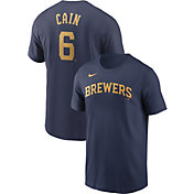 Nike Men's Milwaukee Brewers Lorenzo Cain #6 Navy T-Shirt