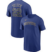 Nike Men's Milwaukee Brewers Christian Yelich #22 Blue T-Shirt