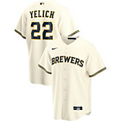 Nike Men's Replica Milwaukee Brewers Christian Yelich #22 Cool Base White Jersey