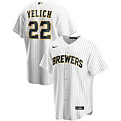 Nike Men's Replica Milwaukee Brewers Christian Yelich #22 Cool Base Pinstripe White Jersey