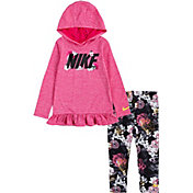Nike Little Girls' Floral Dri-FIT Hooded Long Sleeve Shirt and Leggings Set