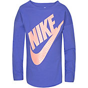 Nike Little Girls' Sportswear Jumbo Futura Long Sleeve Graphic T-Shirt