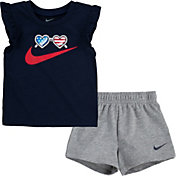 Nike Girls' Americana Flutter Sleeve T-Shirt and Shorts 2-Piece Set