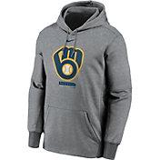 Nike Men's Milwaukee Brewers Grey Therma Logo Pullover Hoodie