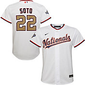 Nike Men's Replica Washington Nationals Juan Soto #22 Championship Gold Cool Base Jersey
