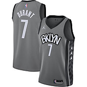 Jordan Men's Brooklyn Nets Kevin Durant #7 Grey 2020-21 Dri-FIT Statement Swingman Jersey