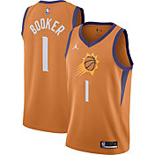 Jordan Men's Phoenix Suns Devin Booker #1 Orange 2020-21 Dri-FIT Statement Swingman Jersey