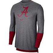 Nike Men's Alabama Crimson Tide Grey Football Sideline Player Breathe Long Sleeve T-Shirt