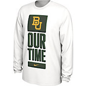 Nike Men's Baylor Bears 'Our Time' Bench Long Sleeve White T-Shirt