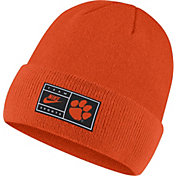 Nike Men's Clemson Tigers Orange Throwback Patch Cuffed Knit Beanie
