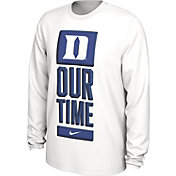 Nike Men's Duke Blue Devils 'Our Time' Bench Long Sleeve White T-Shirt