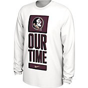 Nike Men's Florida State Seminoles 'Our Time' Bench Long Sleeve White T-Shirt