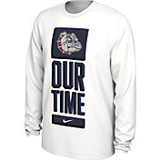 Nike Men's Gonzaga Bulldogs 'Our Time' Bench Long Sleeve White T-Shirt