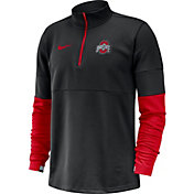 Nike Men's Ohio State Buckeyes Football Sideline Therma-FIT  Black Half-Zip Pullover Shirt