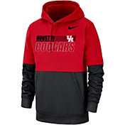 Nike Men's Houston Cougars Red/Black Therma Football Sideline Performance Pullover Hoodie