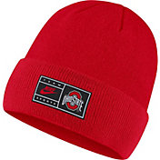 Nike Men's Ohio State Buckeyes Scarlet Throwback Patch Cuffed Knit Beanie