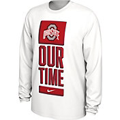 Nike Men's Ohio State Buckeyes 'Our Time' Bench Long Sleeve White T-Shirt