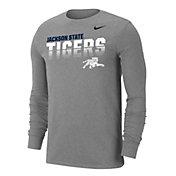 Nike Men's Jackson State Tigers  Grey Dri-FIT Cotton Long Sleeve T-Shirt