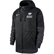 Nike Men's Kansas State Wildcats Therma Football Sideline Full-Zip Black Hoodie