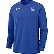 Nike Men's Kentucky Wildcats Blue Dri-FIT Coaches Pullover Long Sleeve Football T-Shirt