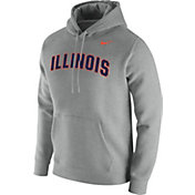 Nike Men's Illinois Fighting Illini Grey Club Fleece Pullover Hoodie