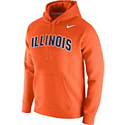 Nike Men's Illinois Fighting Illini Orange Club Fleece Pullover Hoodie
