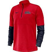 Nike Men's Ole Miss Rebels Red Football Sideline Therma-FIT Half-Zip Pullover Shirt