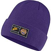 Nike Men's LSU Tigers Purple Throwback Patch Cuffed Knit Beanie