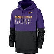 Nike Men's LSU Tigers Purple Therma-FIT Sideline Fleece Football Hoodie