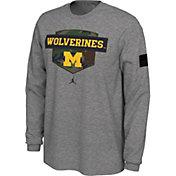 Nike Men's Michigan Wolverines Grey 'Veterans Day' Long Sleeve T-Shirt
