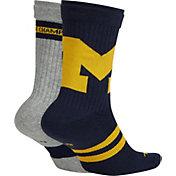 Jordan Michigan Wolverines Multiplier 2-Pair Socks
