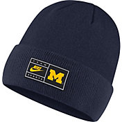 Nike Men's Michigan Wolverines Blue Throwback Patch Cuffed Knit Beanie