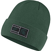 Nike Men's Michigan State Spartans Green Throwback Patch Cuffed Knit Beanie