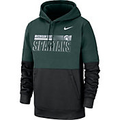 Nike Men's Michigan State Spartans Green Therma-FIT Sideline Fleece Football Hoodie