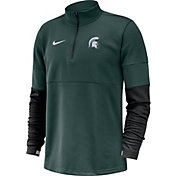 Nike Men's Michigan State Spartans Green Football Sideline Therma-FIT Half-Zip Pullover Shirt