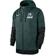 Nike Men's Michigan State Spartans Green Therma Football Sideline Full-Zip Hoodie